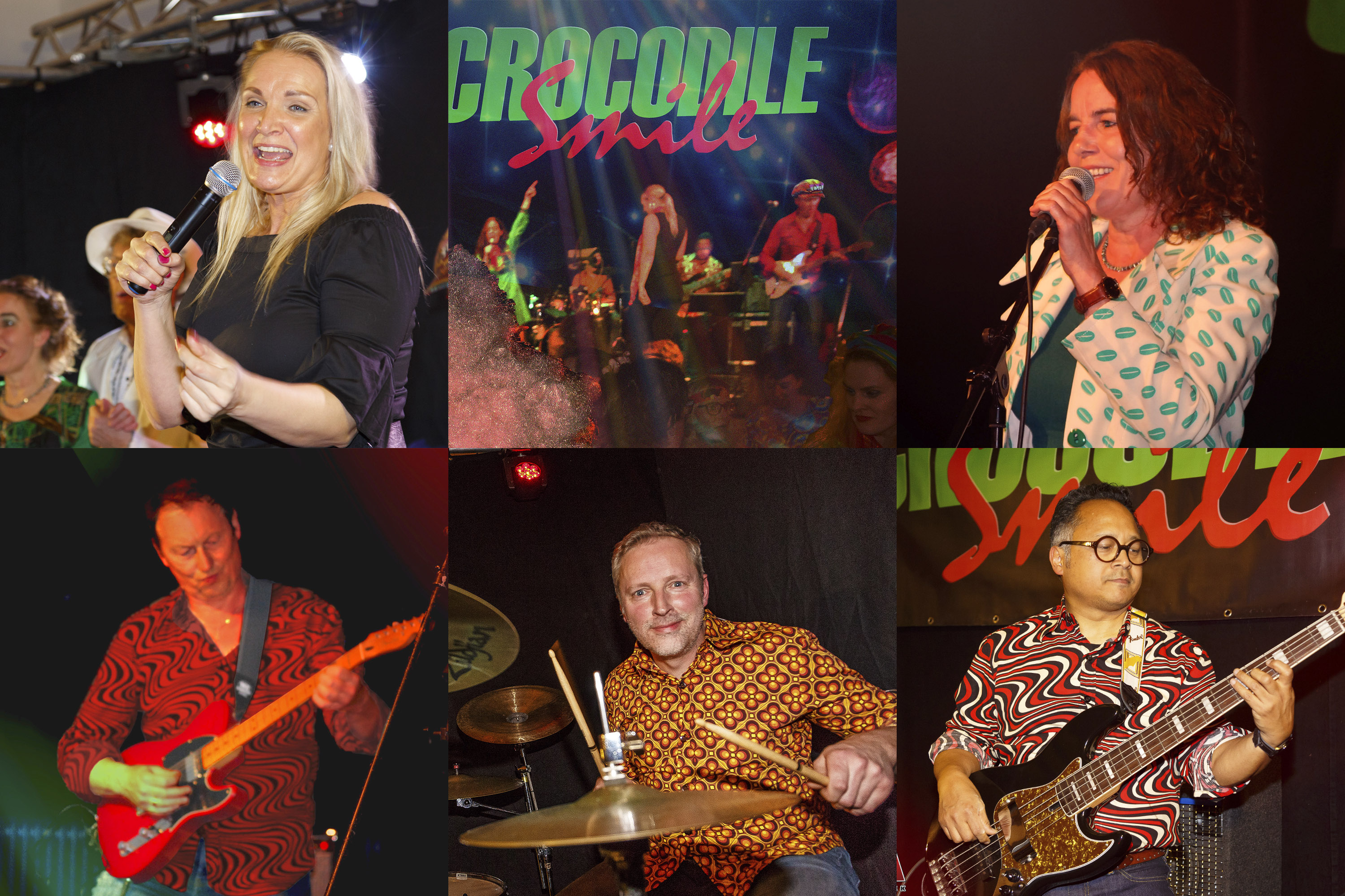 Crocodile Smile live band, collage.